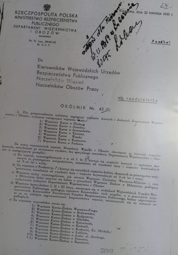 Dokumenty Urzędu Bezpieczeństwa Publicznego dot. Obozu Pracy w Krzesimowie