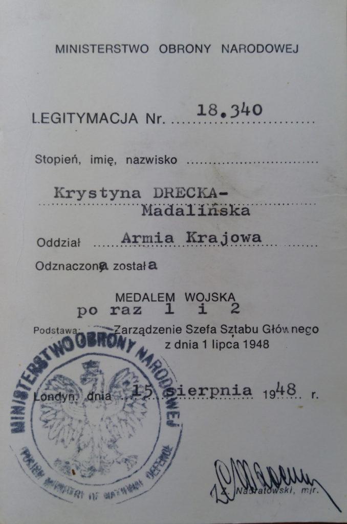 Legitymacja AK Krystyny Dreckiej
