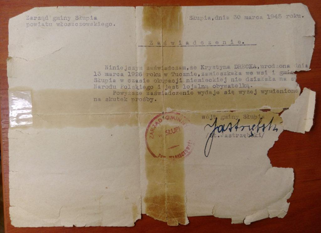 Oryginalny dokument udostępniony przez córkę Krystyny Dreckiej - Annę Żychlińską